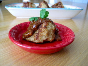 Asian Meatball with Spicy Peanut Butter Spread