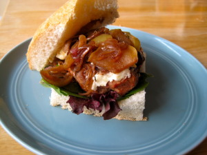 Turkey Burger with Apple & Shallot Compote and Brie