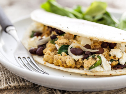 Breakfast quesadilla stuffed with healthy and tasty ingredients